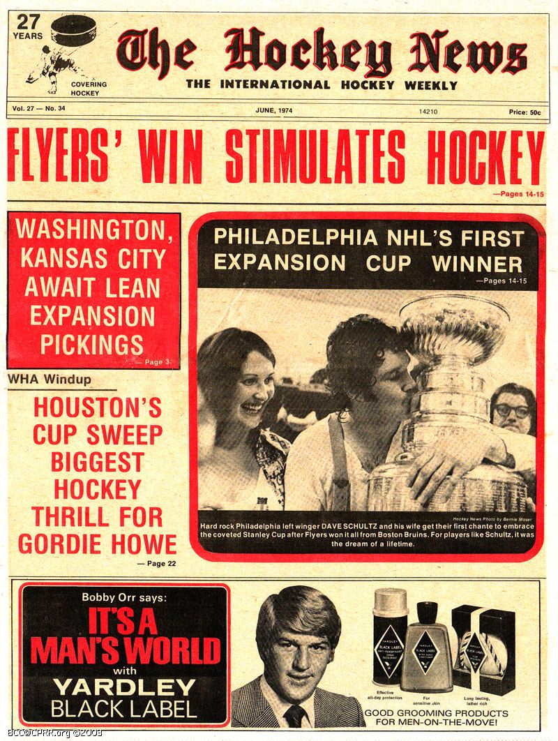"The HOCKEY NEWS"" for June, 1974 (Scoop at right behind the Stanley ..."